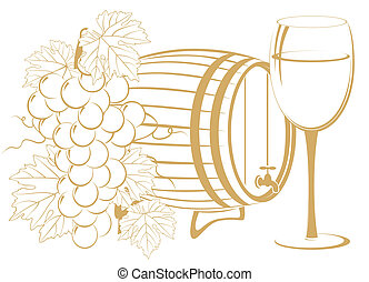 template of bunch of grapes, cask wine and glass of wine