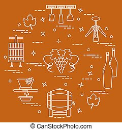 Winemaking: the production and storage of wine. Culture of...