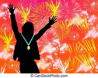 winer - sport winner on fireworks background
