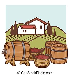 Winery and vineyard vector wine barrels and grape harvest...