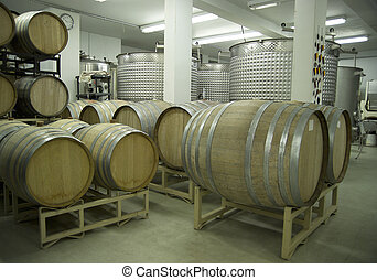 Winery-Barrels and Vats-D2x-44366 - A modern winery cellar. ...