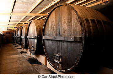Winery Barrels - Large Barrels at a Winery in South...