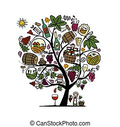 Winery concept, art tree for your design. Vector illustration