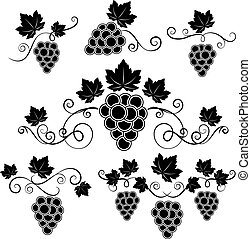Winery design elements set - Winery black and white vector...