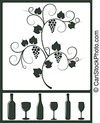Winery design objects. - Silhouette set of winery design...