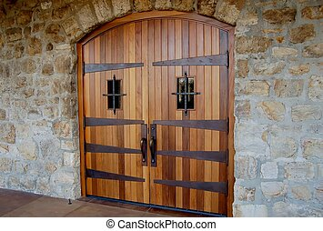 Winery Door - wooden double door at an entrance to a winery
