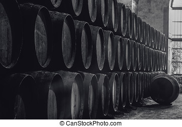 Winery in black and white