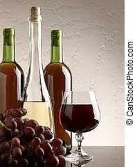winery still life on the glass with red and white wine