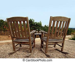 Winery - Two chairs at vineyard, Napa valley