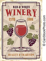 Winery vector colored poster in vintage style