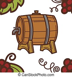 Winery wine barrel with tap grapes seamless pattern