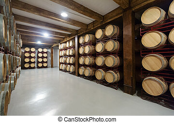 winery with  wooden barrels