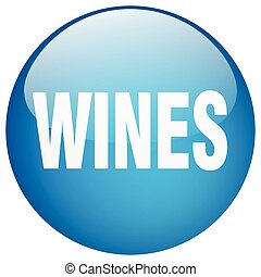 wines blue round gel isolated push button