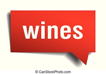 wines red 3d speech bubble