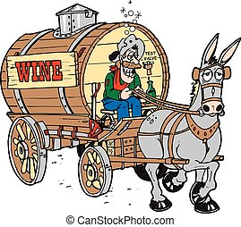 An old drunkard driving a wagon full of wine with his mule pulling,