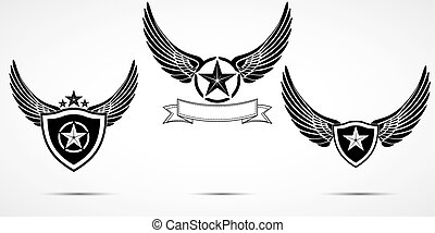 Wing abstract emblem set, logo icon