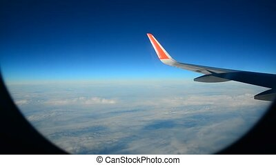 Wing aircraft against sky during the flight - Wing aircraft...