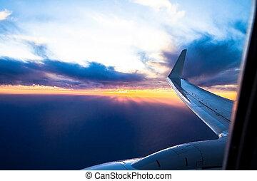 Wing aircraft at sunset