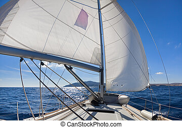 """""""Wing and wing"""" sailing on the yacht"""