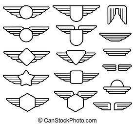 Wing army emblems, aviation badges, pilot labels line vector...