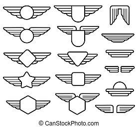 Wing army emblems, aviation badges, pilot labels line vector...