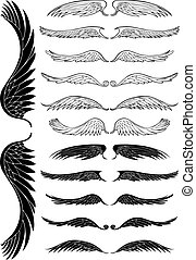 Wing Black Set - Line art angel wing flight symbols in a ...