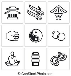 Wing Chun icons. Vector Illustration.