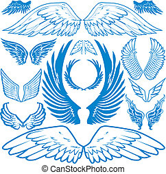 Clip art of wing themed symbols and icons