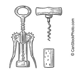 Wing corkscrew, basic corkscrew and cork. Black vintage...