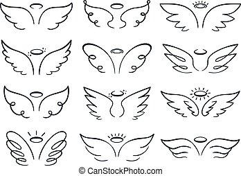 wing., croquis, ensemble, ailé, griffonnage, illustration, main, vecteur, diffusion, dessiné, anges, dessin animé, ailes, icône