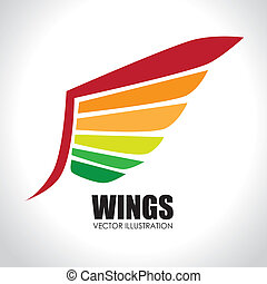 Wing design over white background vector illustration