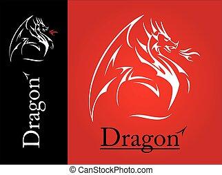 wing., espalhar, linha, dragão, dragão, chama, branca, mouth...