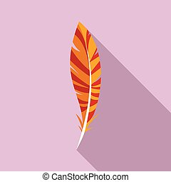 Wing feather icon, flat style