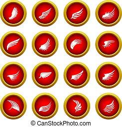 Wing icon red circle set