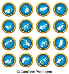 Wing icons blue circle set