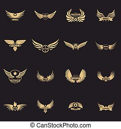 Wing logo icons set, simple style