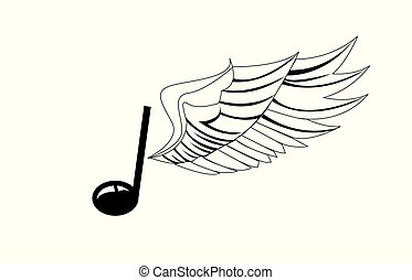 wing., nota, vettore, illustration., musicale