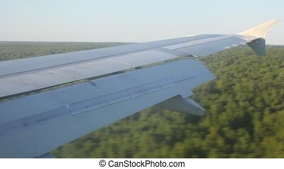 Wing of the plane during a landing