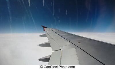 Wing of the plane. view from the window