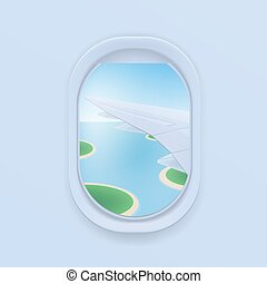 wing., plat, illustration., schaaf, venster., patrijspoort,...