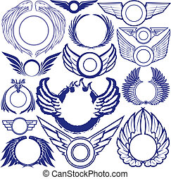 Collection of wing themed ring symbols and icons