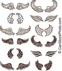 Wing Set - Line art angel wing flight symbols in a wide...