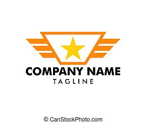 Wing Star Logo Template Design