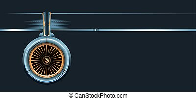 Wing with turbine isolated on dark background