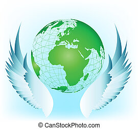 Wing with world. Vector illustration