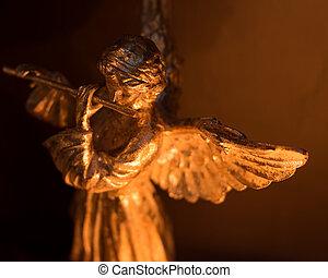 winged, ангел, playing, флейта