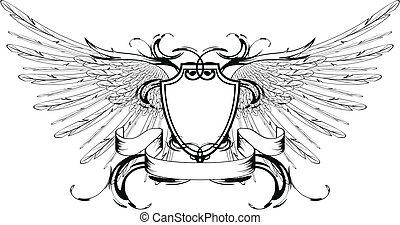 winged, agasalho, braços, escudo