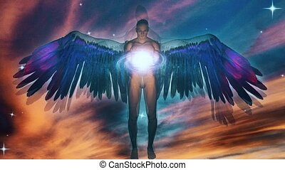 Winged angel being holding divine galaxy. Vivid colors