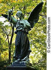 winged, anjo, segurando, um, flor