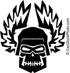 Winged black skull mask in helmet wings of fire.